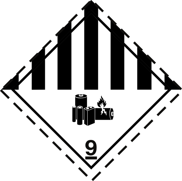 fareseddel 9A, lithiumbatterier