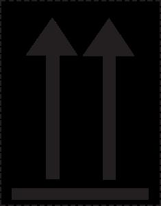 Retningspile, this way up etiketter