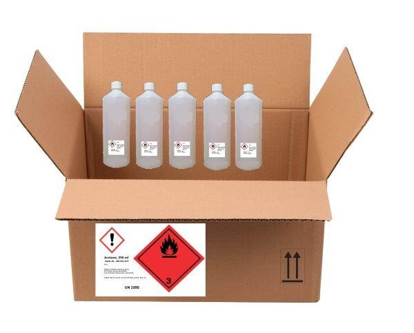 Kombineret CLP og transportmærkning på den udvendige emballage (det lille CLP brandfare symbol er væk)