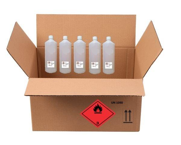 Normal farligt gods transportmærkning uden CLP etiket undtagen på de indvendige dunke