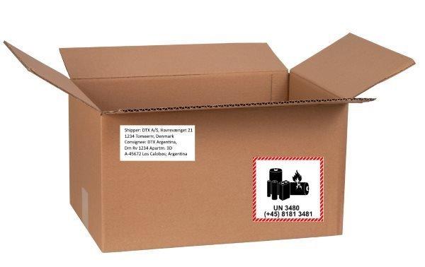 Transport kasse med små lithiumbatterier sendt som ADR vejtransport