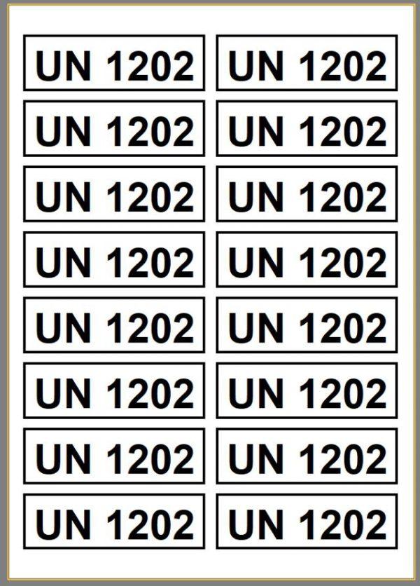 Labels med fx UN 1202, UN 1203 eller UN 0335 fyrværkeri